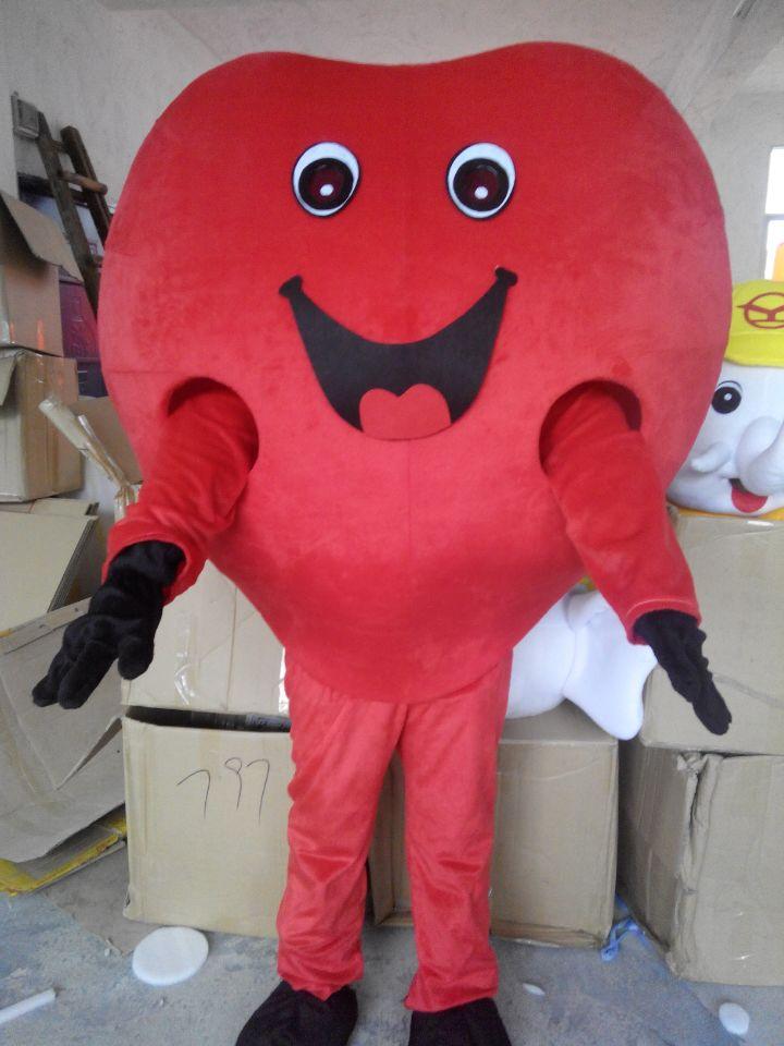 Adulte coeur rouge dessin animé mascotte Costume à vendre déguisement jeu de fête halloween carnaval fête costumes livraison gratuite
