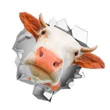 50% gorąca sprzedaż!!!13x13cm 3D krowa głowa Auto Car Styling PVC odblaskowa naklejka zwierząt śmieszne naklejki