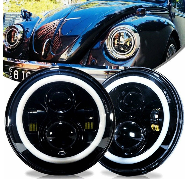 Dot 7 polegada redonda led faróis kit para vw beetle clássico land rover toyota para jeep Luzes p/ carro    -