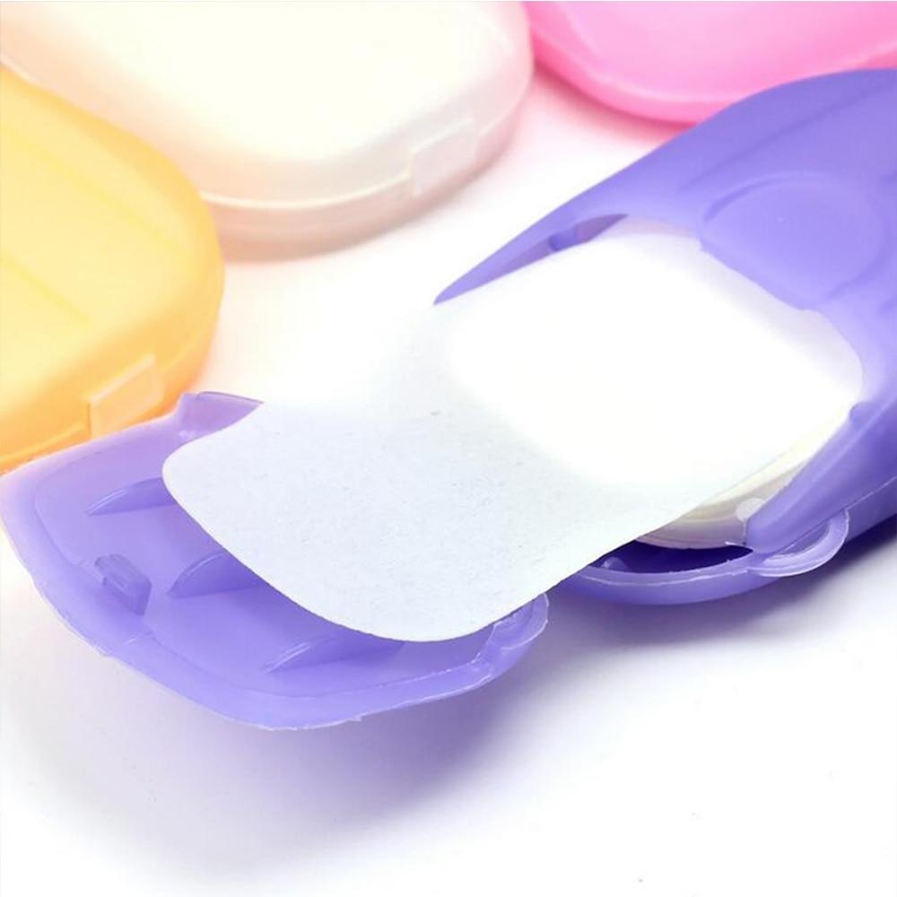 40PCS/2Box Portable Soap Paper Washing Hand Bath Clean Travel Outdoor Disposable Box Soap Portable Mini Paper Soap Random Color