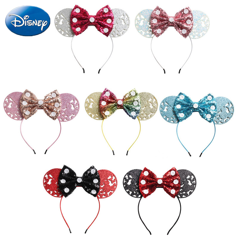 Disney Girls Bows Minnie Mickey Headband Ears Play Game Women Party Ears Sequin Hair-Bands Princess Head Hoop Plush Toy Kid Gift