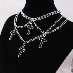 Goth Indie Silver Color Hollow Cross Pendant Necklaces Chains For Women E Girl Grunge Aesthetic Accessories Jewelry Unif Choker