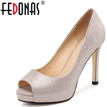FEDONAS  Women Top Quality Microfiber Pumps Sweet Slippers Thick Heels Peep Toe Fine Heel Prom Shoes Summer Sandals Shoes Woman