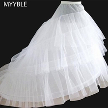 Free shipping High Quality White Petticoat Train Crinoline Underskirt 3-Layers 2 Hoops For Wedding Dresses Bridal Gowns