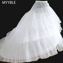 Free shipping High Quality White Petticoat Train Crinoline Underskirt 3-Layers 2 Hoops For Wedding Dresses Bridal Gowns(China)