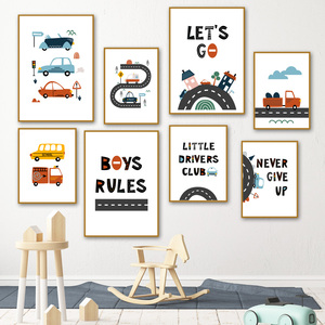 Wall Art Canvas Painting Cartoon Kids City Car Driver Club Nordic Posters And Prints Wall Pictures For Kids Room Wall Decor