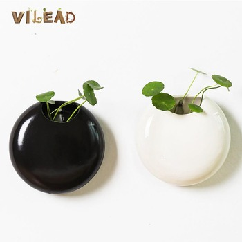 VILEAD 2 Styles Ceramic Wall Hanging Pot Hydroponic Black White Wall-mounted Flower pot Vase Vintage Home Office Decoration wall mounted rotating sauna wooden hourglass white sand timer 15 minutes