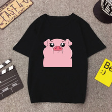 Grasa caliente cerdo lindo Animal Kawaii Hipster Mujer negro T camisa Harajuku coreano Tops Streetwear Camiseta Mujer Vintage estética camisetas