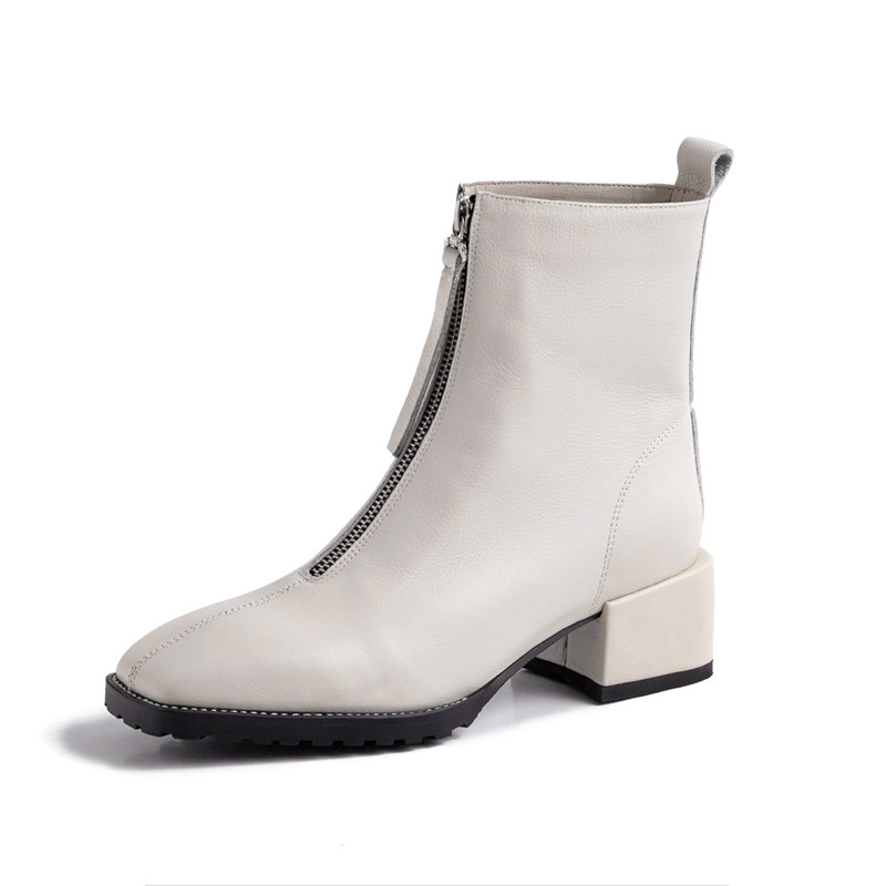 HOLY JASMINE Genuine Leather Women Boots New Spring Autumn Pigskin Ankle Boots for Women Square Heel Ladies Shoes High (5cm-8cm)