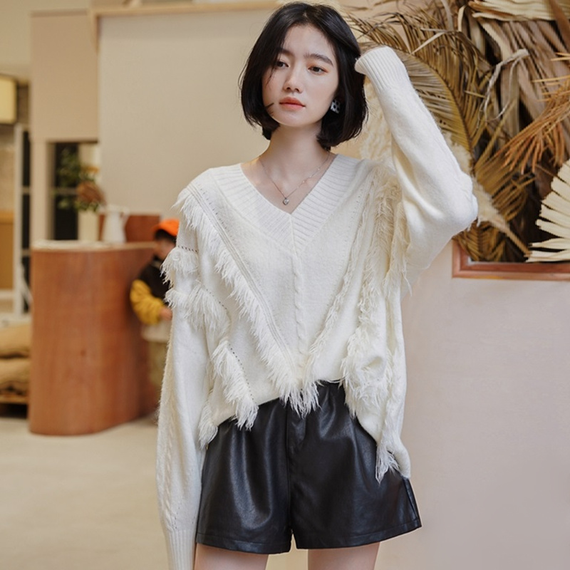 V Neck Sweater Women Autumn Winter Korean Fashion Tassel Fringed Twisted Knitted Pullover Sweaters Ladies Jumpers