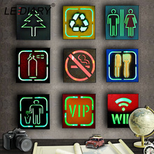 LEDIARY Wall Light Box Fluorescent LED Night Bar Restaurant Decor No Smoking WC VIP Cash Hanging Lamp
