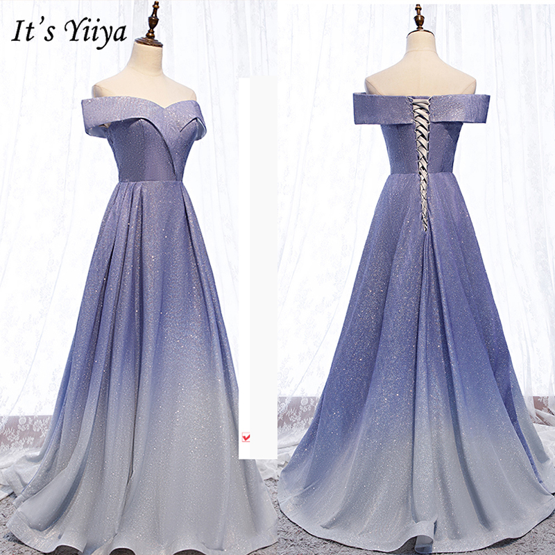 It's Yiiya Evening Dress 2019 Constrat Color Boat Neck A-Line Long Dresses Elegant Off Shoulder Women Party Robe De Soiree E998