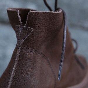 Image 4 - Женские ботильоны на шнуровке, Осенняя обувь из натуральной кожи, Нескользящие ботинки на резиновой подошве, 2018(9738)