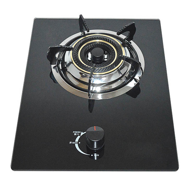 Natural Gas Stove, Liquefied Gas Stove, Household Tempered Glass, Embedded Pulse Ignition Single Head Stove, Copper Fire Cover