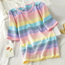 Summer Rainbow women T shirt Harajuku Short Sleeve Korean Punk Tops Lo