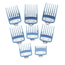 Guia conjuntos de pente com caixa clipper kit ferramenta corte cabelo clipper pentes limitados com metal barbeiro acessórios