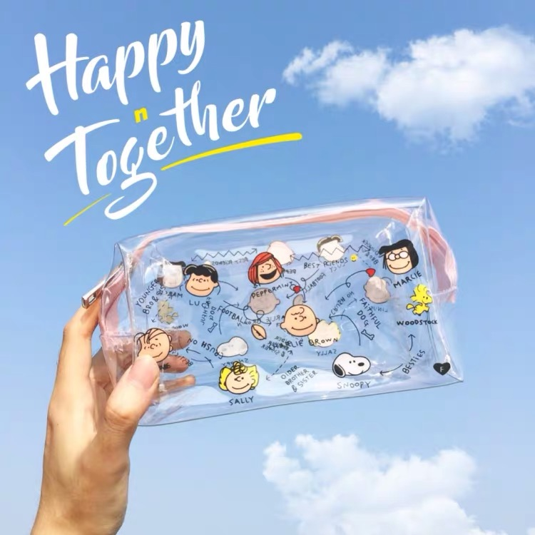 INS  Peanuts Snoopy Kawaii Cartoon Transparent PVC High Capacity Pencil Bag  Storage Bag Purse Card Package Learning Storage