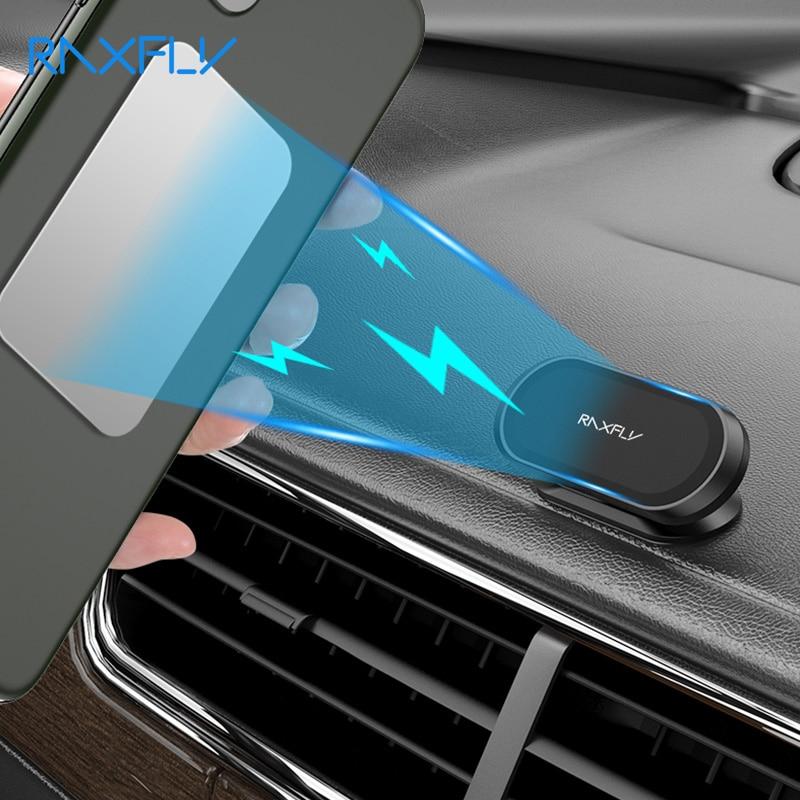 Raxfly magnético suporte do telefone carro 360 graus mini tira forma titular metal ímã gps suporte de montagem do carro parede escritório quarto suporte