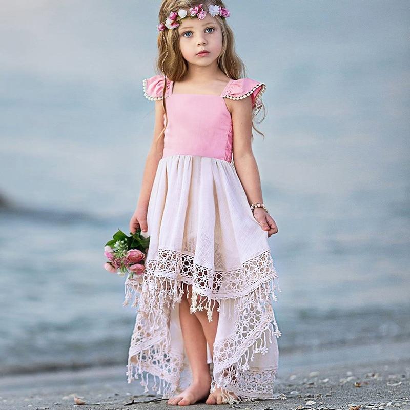 1 2 3 4 5 6 ans petites filles plage Pincess robe enfants été dentelle rose Costume enfants anniversaire vêtements robes mignonnes pour fille