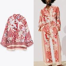 Za 2021 w stylu Vintage asymetryczna druku koszula kobiet z długim rękawem luźne czerwony letnie koszule kobieta Chic naszyta kieszeń zapinana Top na co dzień