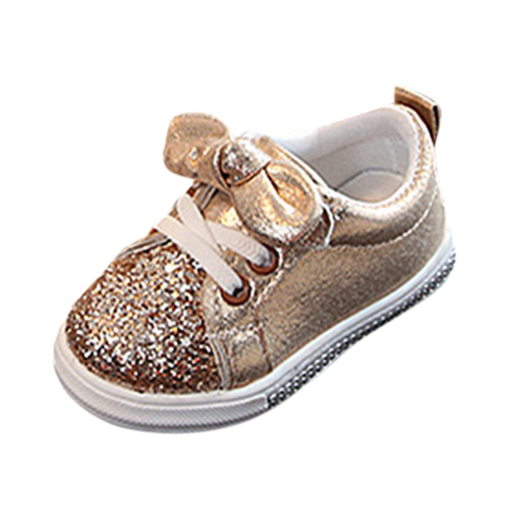 SAGACE Baby Shoes Children Unisex Toddler Kids Baby Girl Boy Run Sport Sneakers Shoes Bling Hook  Loop Sequins Bowknot Crystal