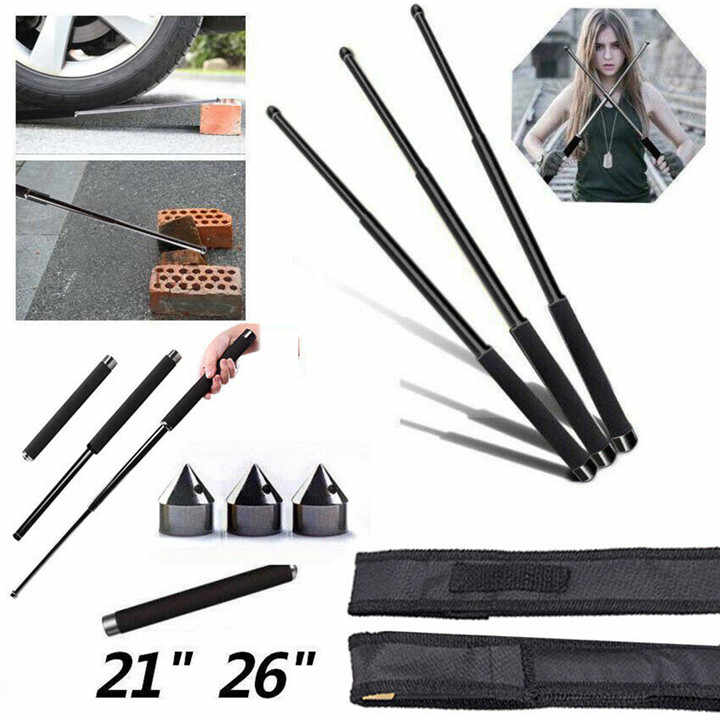 Portabel Ditarik Tongkat Keamanan Diri Melindungi Adjustable Trekking Telescopic Hiking Tiang Tongkat Magic Wand Tool 2019