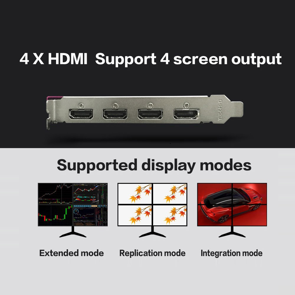 Yeston RX550-2G 4HDMI 4-Screen Graphics Card Support Split Screen 10bit Color Depth HDR 2G/128bit/GDDR5 with 4 HDMI Ports 4