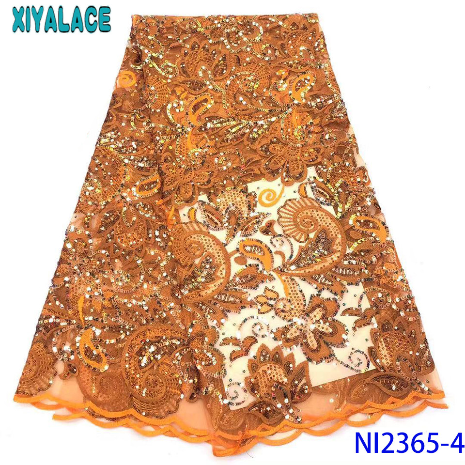 Latest Orange African Lace Fabric 2019 Sequin Lace French Lace Fabric With Sequence For Nigerian Party KSNI2365-4