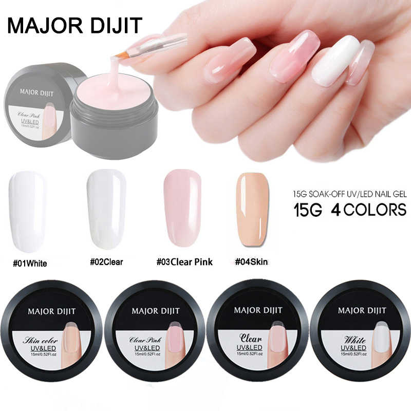 15g/Box Builder Gel White Clear Skin Color Fibre Glass Hard Jelly Quick Building Nail Extend Gum Poly Nail Gel Nail Art