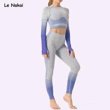 2 pçs sem costura roupas de treino para as mulheres manga longa conjunto yoga colheita superior esporte terno treino roupas de ginástica roupas de ginástica