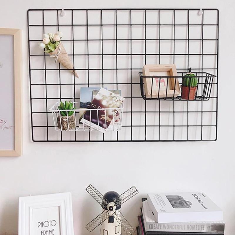 Nordic Iron Grid Wall Art Decoration Shelf Home Decor Bedroom Photos Frame Postcards Mesh Display Storage Organizer Racks Holder