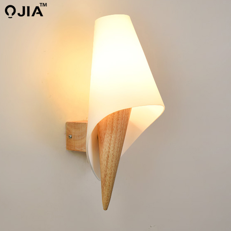 Simple solid <font><b>wood</b></font> indoor lighting Japan-style aisle Warm <font><b>Nordic</b></font> <font><b>wall</b></font> <font><b>lamp</b></font> bedside bedroom Single Head Fixture Free Shipping image