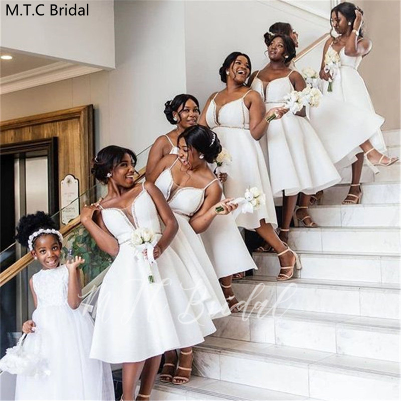 White Short Bridesmaid Dresses Sweetheart Spaghetti Straps Satin Maid Of Honor Dress Plus Size Black Girls Prom Party Gown Cheap