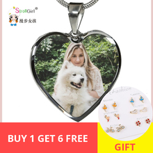 SG Silver 925 Portraits Necklace Personalized Custom Pet Photo and Engrave Words Heart pendant Best Gifts for Dog lover