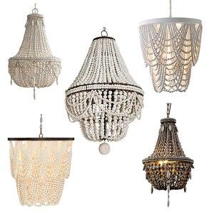Image 1 - Lámpara colgante de cuenta de madera blanca Vintage, lámpara colgante de madera negra antigua para cocina, retro Para dormitorio, accesorios de iluminación, gris antiguo