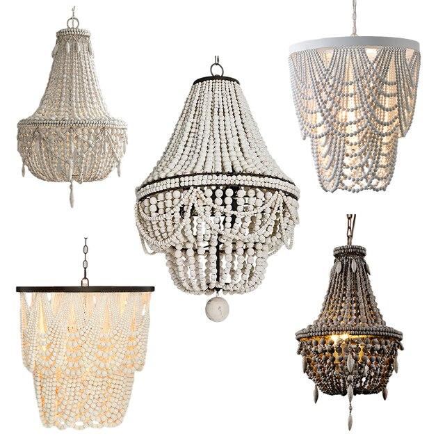 Vintage weiß holz perle anhänger licht antike schwarz holz küche drop licht retro schlafzimmer hängen leuchten antike grau