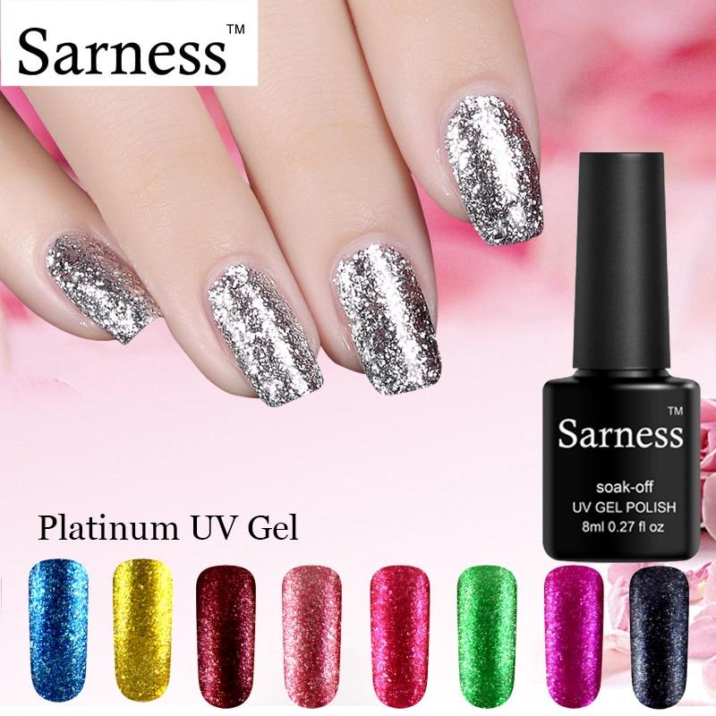 Sarness Platinum Glitter Nail Gel Polish Primer Semipermanente Soak Off Lucky Gel Primer Hybrid Nail UV Gel Lacquer Top Base