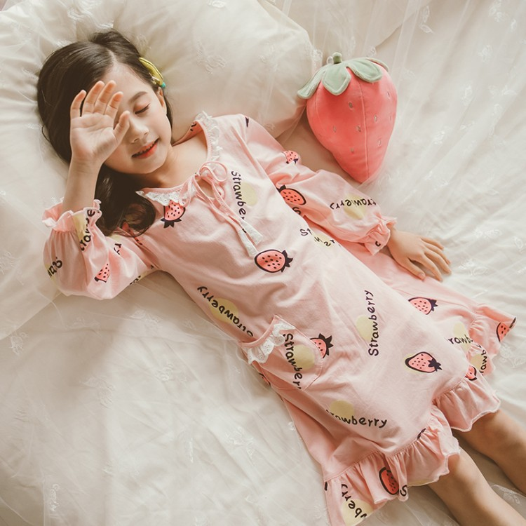 Girls' Pajama Spring And Autumn Pure Cotton Girls Summer Tracksuit Female Baby Kids Thin Big Boy Parent And Child Pajamas Fashio