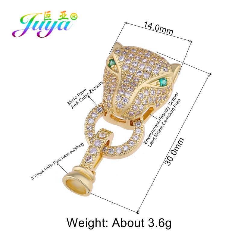Juya Diy Jimat Perhiasan Komponen Perlengkapan Pengikat Leopard Naga Gesper untuk Buatan Tangan Alami Batu Mutiara Membuat Perhiasan