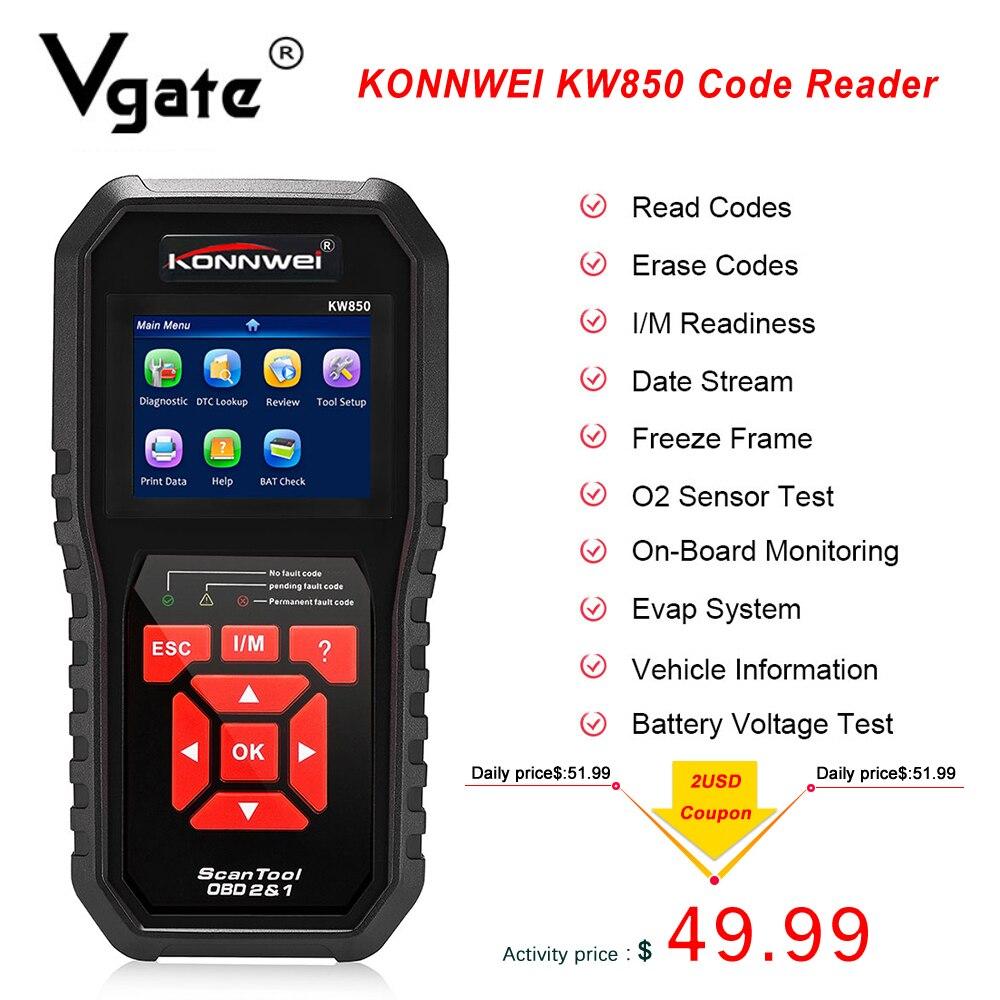 OBD2 KONNWEI KW850 Code Reader Check Engine OBD/EOBD Scanner Automotive Free update Car Diagnostic Auto Tool PK CR5001 CR3008|Code Readers & Scan Tools|   - AliExpress