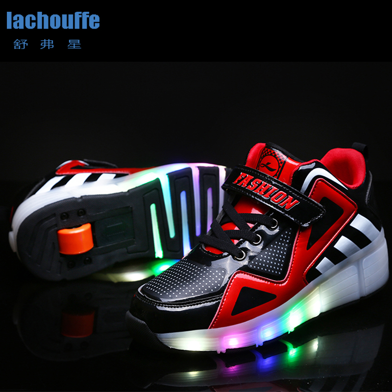 Boys Usb Charing LED Light Shoes Glowing Sneakers With Singledouble Wheels Girls Luminous Kids Roller Skate Shoes Women EU29 40