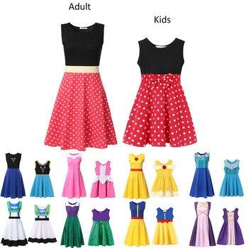 Vestido de fiesta de princesa para mamá y niñas Minnie Anna Elsa Belle sirena Rapunzel maléfica adulto y tamaño infantil ropa de Toy Story
