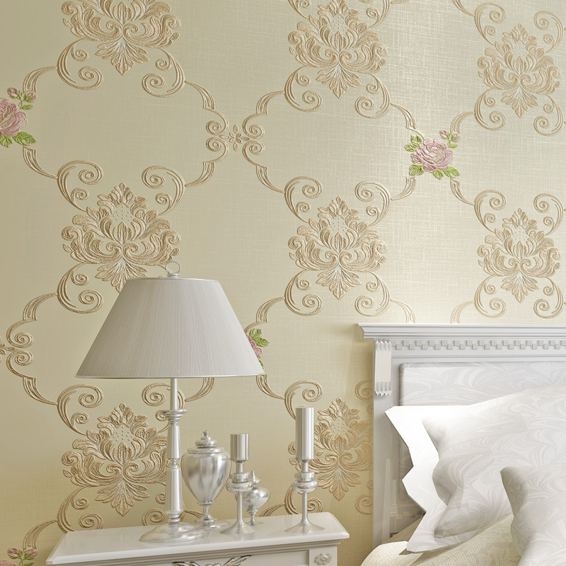Simple European 3D Coining Bedroom Living Room Wallpaper Bump Varved European Countryside Warm Non-woven Wallpaper