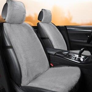 Image 2 - מושב מכונית כיסוי חורף קטיפה פרווה רכב מושב מגן אוטומטי מושב כרית עם Bakrest וכובע מתאים ביותר רכב משאית SUV ואן