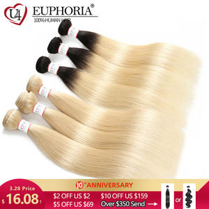 EUPHORIA Hair-Weave Bundles Weft-Extensions Blonde Human-Hair Platinum Black Ombre Straight
