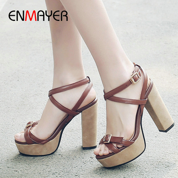 ENMAYER Genuine Leather Basic Buckle Strap 2020 Summer New Women Shoes Party Women Sandals Square Heel Fashion Wedding Shoes