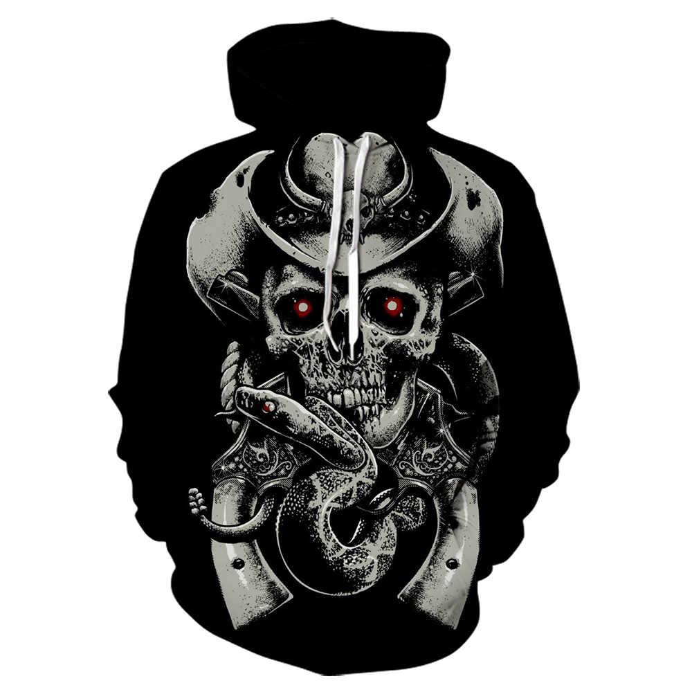 가을 전쟁 블랙 망 후드 스웨터 3D 인쇄 재미 있은 해골 까마귀 Streetwear 하라주쿠 풀오버 힙합 자켓 남자 Tracksuit