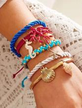 Fashion Charms Beach Shell Starfish Leather Bracelet Women Party Jewelry Gifts