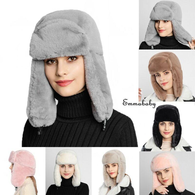 Womens Earcuff Hats Winter Warm Earmuffs Thicken Ear-flapped Hat Female Faux Fur Bomber Hats Fashion New 7 Colors