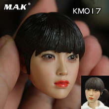 цена на 1/6 female head carving KUMIK KM017 Asian beauty head sculpt with PVC hair HEAD for pale Female Body toy